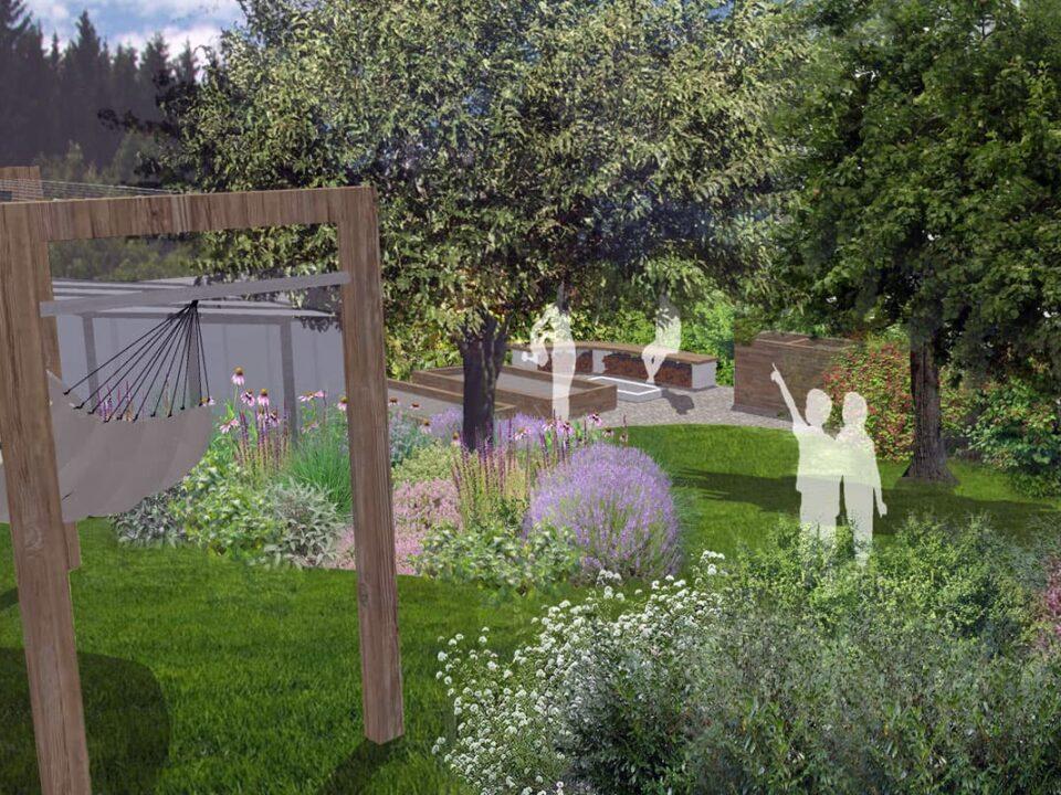 Zahrada u rodinného domu v Hronově